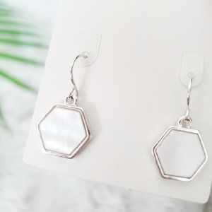 Francesca's Hexagon Silver Small Dangle Earrings